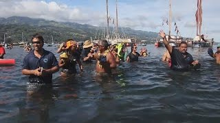 Hōkūleʻa, Hikianalia Celebrated In Mahina, Tahiti (Apr. 15, 2017)