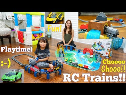 Kids' Toy Channel: Remote Control Train Set Toy Unboxing. Diecast Cars Playtime w/ Hulyan & Maya