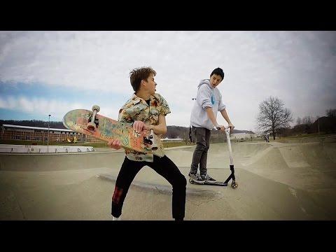 Skateboarding Trick VS Scooter Kids