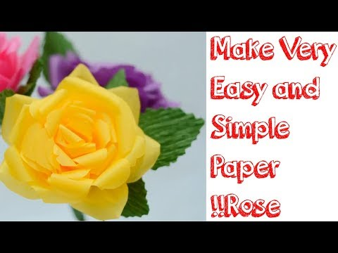 How to make a very easy tissue paper%best rose%flower | Crafts for kids
