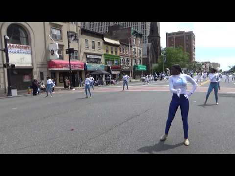 BLACK CHEERLEADERS HIGHSCHOOL MARCHING BAND AT NEWARK NEW JERSEY AFRICAN AMERICAN PARADE 2017