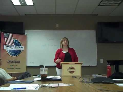 Fair Weather Toastmasters--Tracy Hinojosa evaluating Heather White 9/7