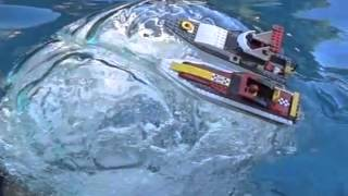 Slow Motion, Huge air bubble sinks two lego boats.m4v