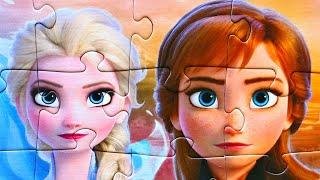 Принцессы АННА и ЭЛЬЗА Холодное Сердце 2 собираем пазлы для детей с героями мультика Холодное Сердце