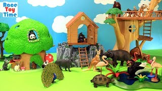 Toy Animals in the Treehouse For Kids - Learn Animal Names Video