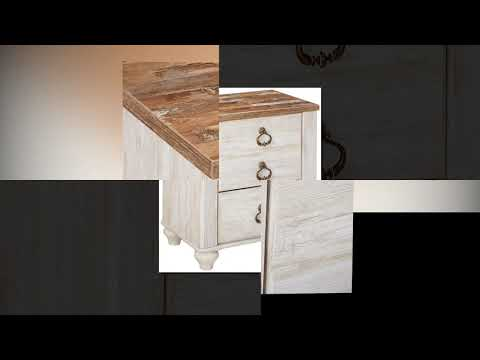 9da4c6d29c9 Ashley Furniture Signature Design – Willowton Nightstand – Rustic Farmhouse  Style – White Wash