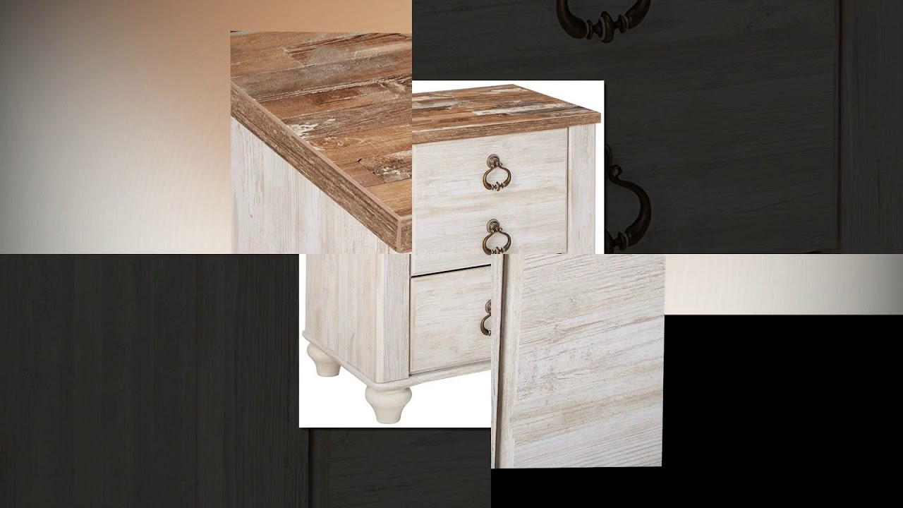 Rustic Farmhouse Style White Wash Signature Design by Ashley Willowton Nightstand