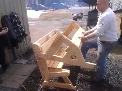 Making a folding bench and picnic table combo - YouTube