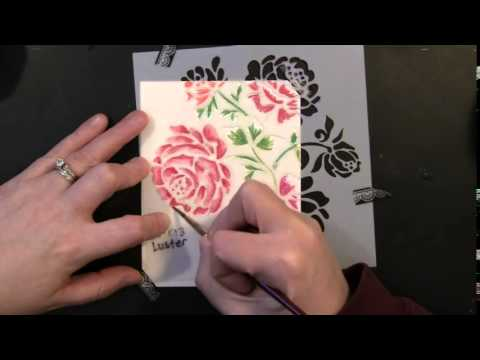 Watercolor Flowers with Stencil Design