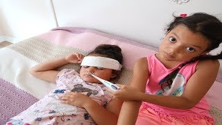 Elif Öykü and Masal Pretend play Sick fun play for kids video, Funny Kids