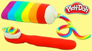 How to Make Rainbow Play Doh Toothbrush and Toothpaste | Fun & Easy DIY Play Dough Art!