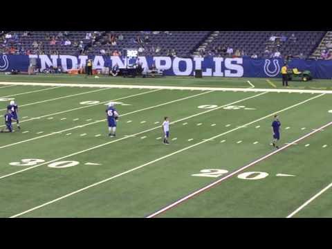 Adam Vinatieri misses and hits 56 yard field goals