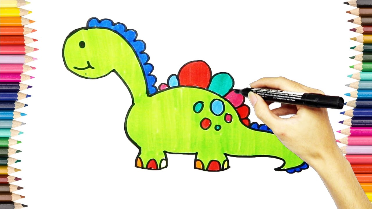 Learn To Draw Dinosaurs & Most Beautiful Coloring, Teach Drawing To ...