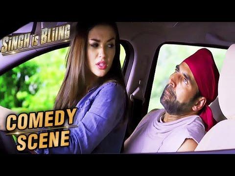Amy Jackson Sits On Akshay Kumar's Lap In A Car | Comedy Scene | Singh Is Bliing | Lara Dutta | HD
