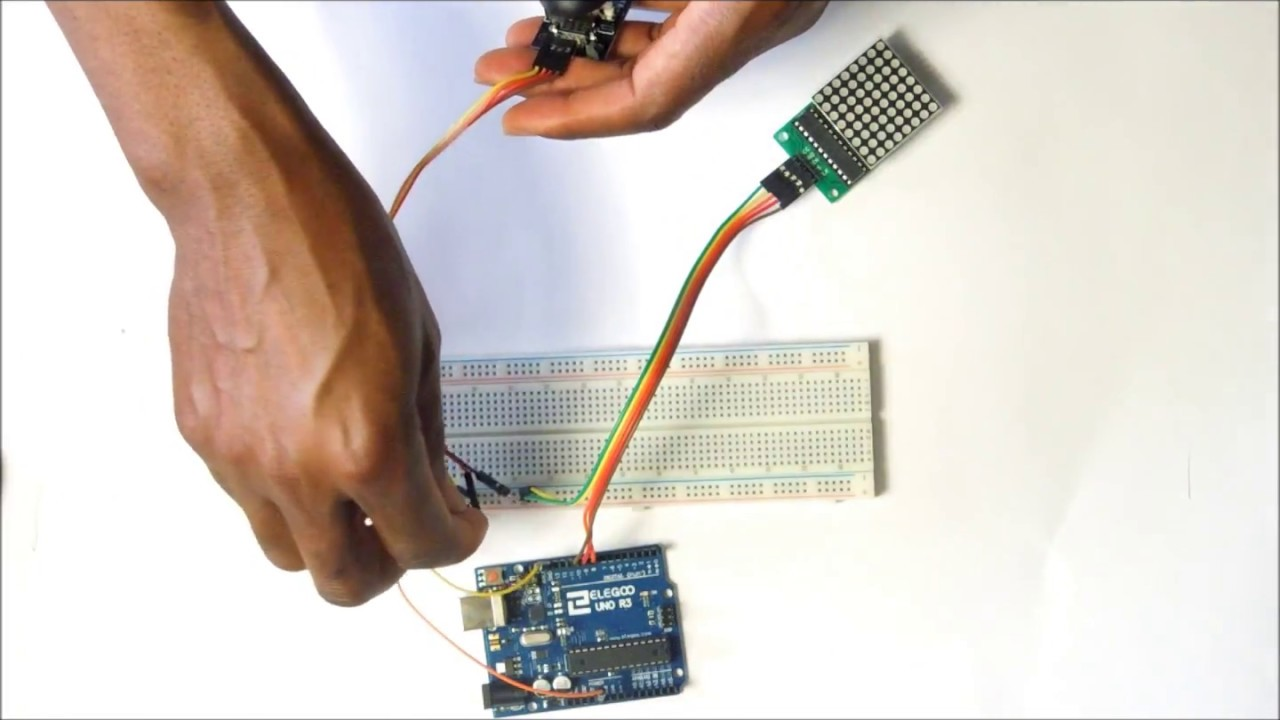 Controlling an 8x8 Dot Matrix LED Module Using a Joystick & an Arduino