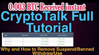 Cryptotalk 65$ ||0.003 BTC Received instant Withdraw||Cryptotalk Full Tutorial||Why Suspend/Banned