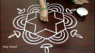 rangoli art designs for diwali with 5 to 3 interlaced dots- simple kolam designs- muggulu designs