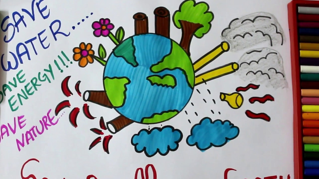 how to draw mother earth drawing stop global warming for kids save earthsave naturesave trees