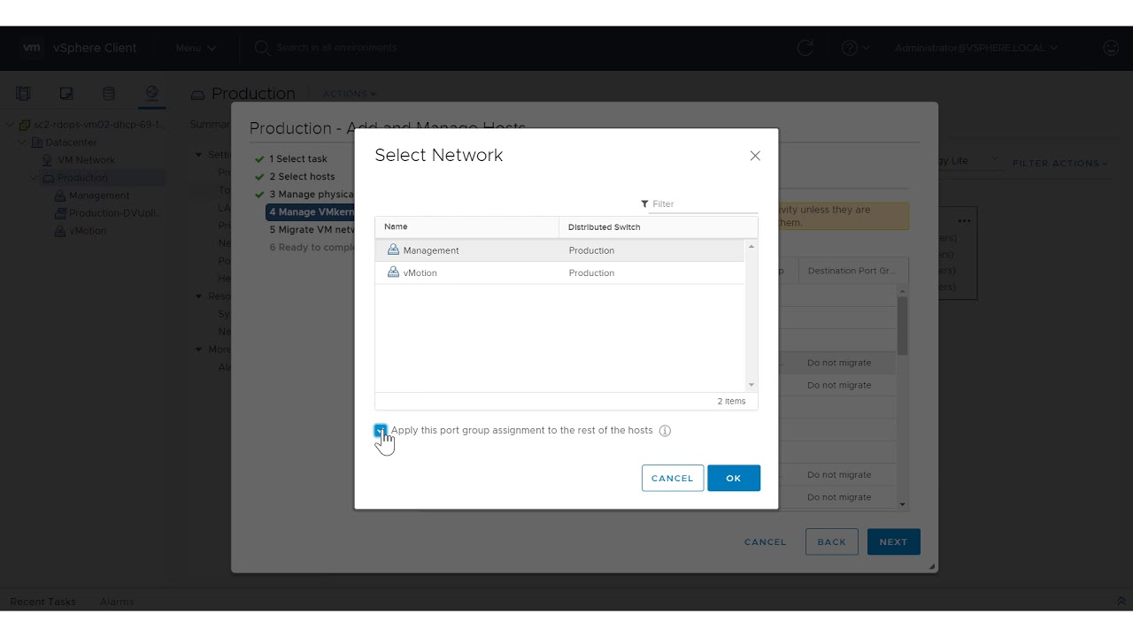 Migrating Networking to a vSphere Distributed Switch in the vSphere Client