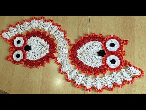 Tuto chemin de table chouette au crochet 2 2 youtube - Set de table crochet ...