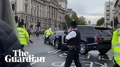 Boris Johnson's car struck from behind as protester runs in front of convoy