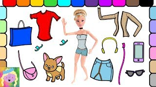 Play Barbie Dress Up | Cinderella Goes Shopping | Learn Color Names | Learn Simple Clothes Names