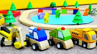 #ВидеоДляМальчиков про машинки: игры в конструктор для стройки парка! Учим животных!