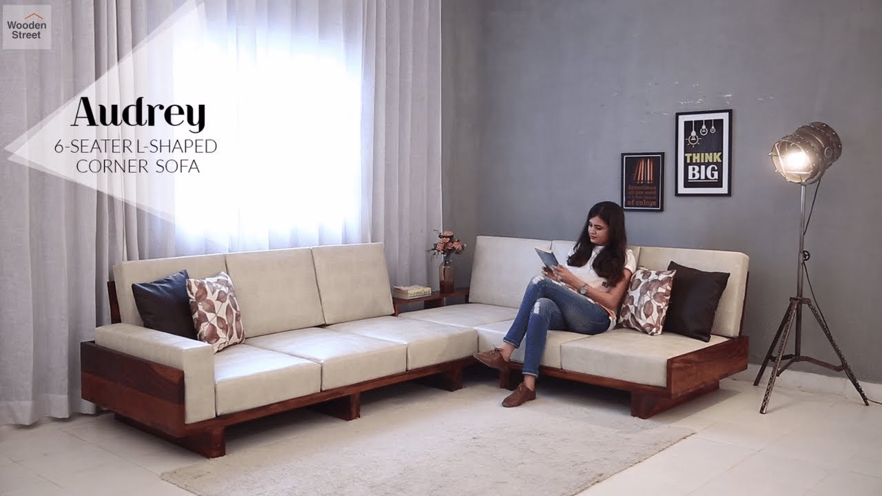 Corner Sofa : Audrey 6 Seater L Shaped Corner Sofa by woodenstreet.com  Starting from Rs 64,989