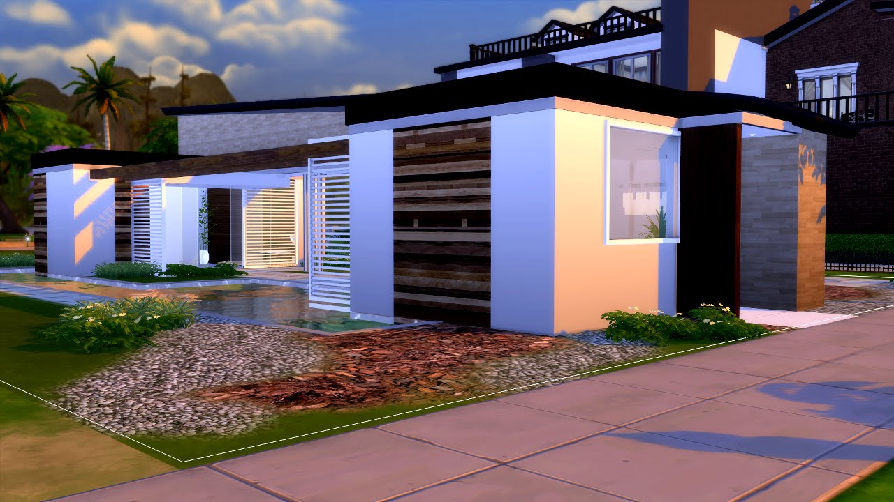 The sims 4 modern house casa moderna ita 2 youtube for Casa moderna 9 mirote y blancana