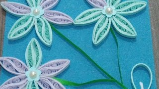 quilling greeting card white and blue
