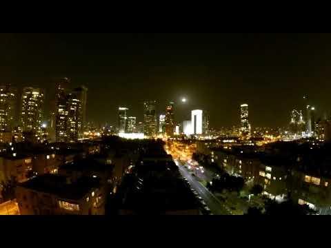 GO PRO  Video Moon Set Over Tel Aviv Israel