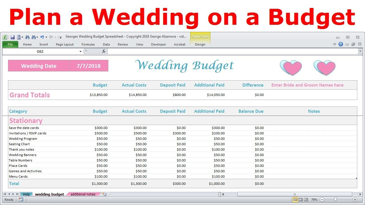 simple wedding budget calculator spreadsheet excel templates how