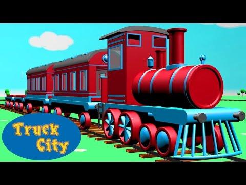 Tren si Locomotive in jurul Orasului Camioanleor | Orasul Camioanelor desene pentru copii
