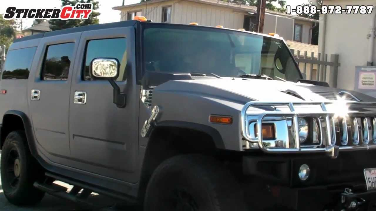 Car Wraps Cost >> Hummer H2 Brushed Steel Vinyl Car Wrap - YouTube