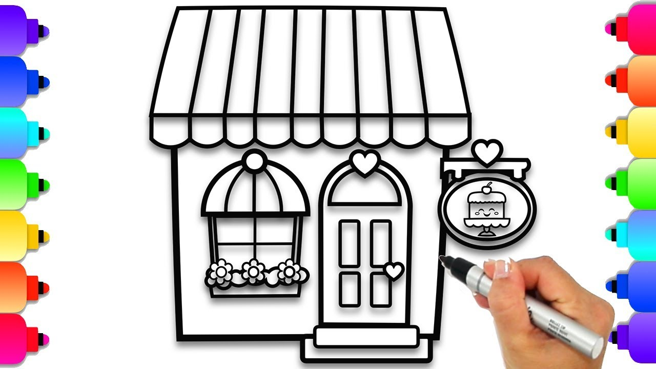 How to Draw a Shop Cake Shop Coloring Page Learn to