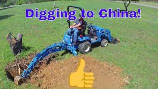 Video LS MT125 Tractor and Backhoe Digging Stump ( New Holland Work Master 25S) download MP3, 3GP, MP4, WEBM, AVI, FLV Juli 2018