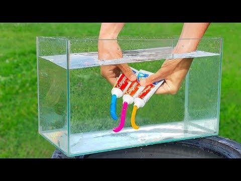 Experiment: Rainbow Toothpaste Under Water