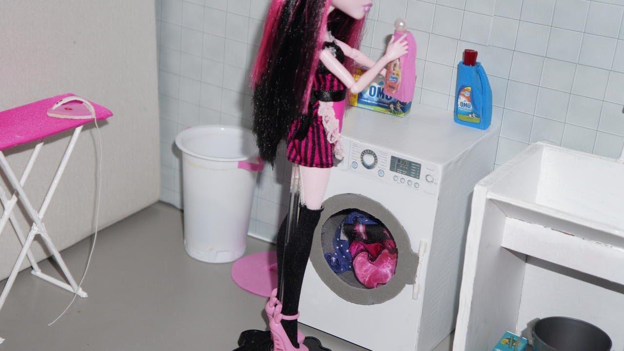 Como fazer máquina de lavar para boneca Monster High, Barbie, etc  YouTube -> Como Fazer Pia De Banheiro De Boneca