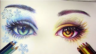 How to Draw Fire and Ice Eyes |Time lapse Drawing
