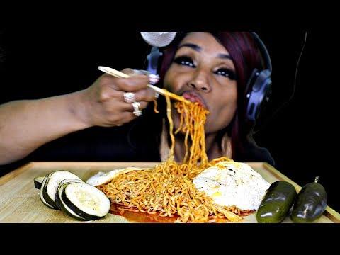 ASMR Spicy Fire Noodles, Eggs, Cucumbers, Jalapenos (Beast Mode)