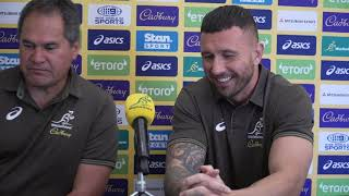 Wallabies press conference: Dave Rennie and Quade Cooper