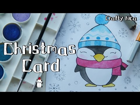 Penguin Christmas Cards Homemade.How To Draw A Kawaii Penguin Cute Christmas Cards Diy