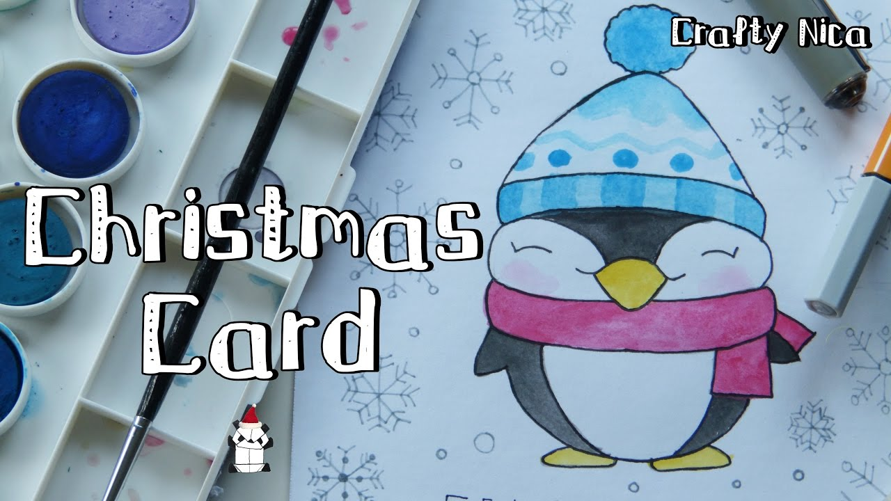 How To Draw A Kawaii Penguin Cute Christmas Cards Diy Holiday Cards Youtube