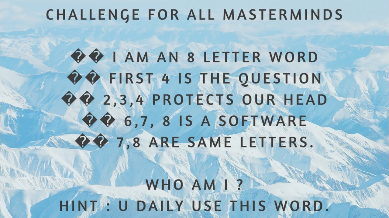 Challenge For All Masterminds Youtube