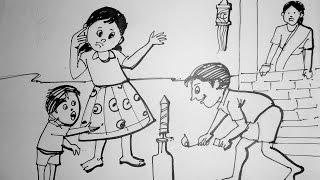 Diwali Deepavali Festival drawing Art Drawing   how to draw diwali festival on paper #2