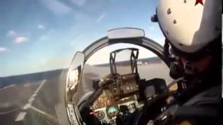 Russian Navy Sukhoi Su 33 AWESOME footage on AIRCRAFT CARRIER