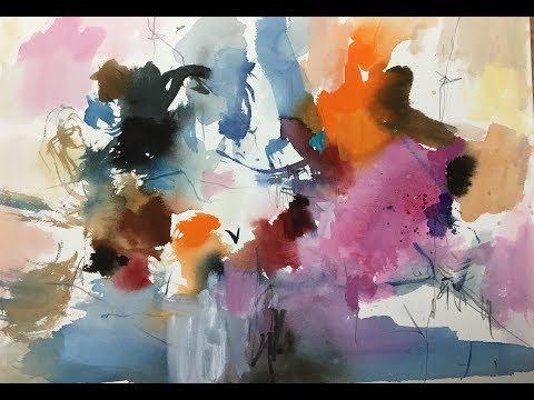 Abstrakt farverig eksperimenterne akvarelmaling Abstract colorful experiments watercolor paint
