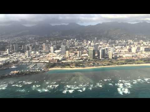 Kona winds approach into Honolulu International Airport April, 2015.