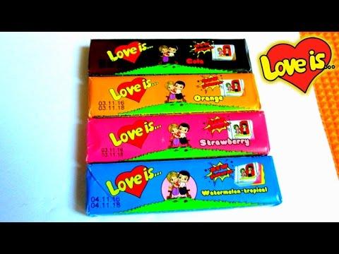 Распаковка жевательных конфет  Love is. Вкладыши Лав из