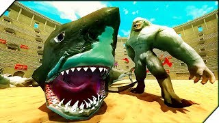 АКУЛА МЕГАЛОДОН против ЙЕТИ - Игра Beast Battle Simulator